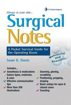 Surgical Notes: A Pocket Survival Guide for the Operating Room (Davis's Notes) by Susan Sheets CST RN MSN CNOR http://www.amazon.com/dp/0803625928/ref=cm_sw_r_pi_dp_Inwvub0A7ETY9