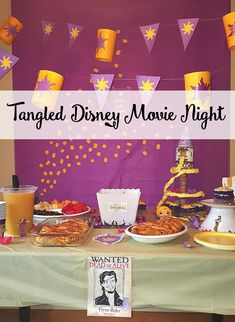 Tangled Disney Movie Night. These Disney movie nights are a fun event for the whole family and really get everyone ready for your next Disney trip, the tangled scene comes to life.