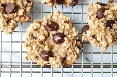 Easy Banana Chocolate Chip Cookies - Vegan & Gluten Free - The Honour System. These easy cookies need only four ingredients! Nice mix of healthy and yummy.