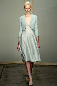 """Monochromatic looks, in pale washed color palette of watery blues, sea greens, and sunset pinks."" Donna Karan 2013 RTW"