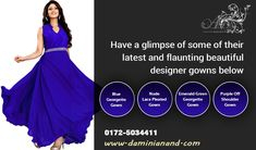 Find the Tempting in Chandigarh via Anand Designs Studio Designer Gowns, Designer Wear, Chandigarh, Green And Purple, Modern Fashion, Online Boutiques, Party Wear, Studio, Lady