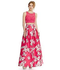 B. Darlin Lace Crop-Top Bodice To Floral Print Skirt Two-Piece Gown
