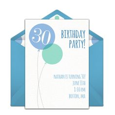 Free 30th birthday party invitation with a balloon design. Love this design for a memorable milestone birthday party.