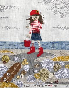 Fossil Hunting fabric art by 'Lisa Stubbs   My fave pic by my buddy, Lisa