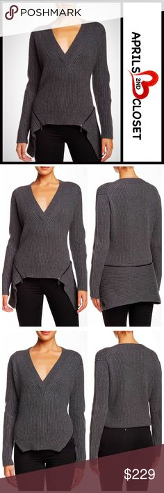 "L.A.M.B Sweater Zip Up Removable Peplum L.A.M.B Sweater Zip Up Removable Peplum  💟NEW WITH TAGS💟  * A relaxed fit * Incredibly soft & cozy  * Allover chunky ribbed knit fabric w/zipper details * Approx 25""-30"" long, Hi-lo Hem  * Removable zip peplum for 2 different looks, & long sleeves FABRIC-90% WOOL, 10% CASHMERE COLOR-Heather Charcoal Grey Item# SEARCH # Boyfriend loose Knit subtly oversized slouchy 🚫No Trades🚫 ✅ Offers Considered*/Bundle Discounts ✅  *Please use the blue 'offer'…"