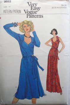 Very Easy Very Vogue 9653 - Front Wrap Dress Sewing Pattern - Size 12, Bust 34, Uncut by Shelleyville on Etsy