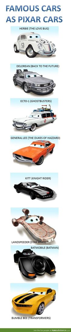 Famous cars as pixar cars