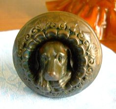 Figural Dog Doggie Door Knob Architectural Antique late 1860s Metallic Compression Company Cast Bronze Sculpture - My mother would love this!