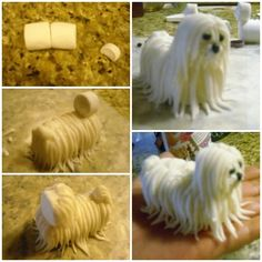Marshmallow dog - Body is made from 2 marshmallows and head is 1/4 of a marshmallow. Hair is gumpast/fondant mix