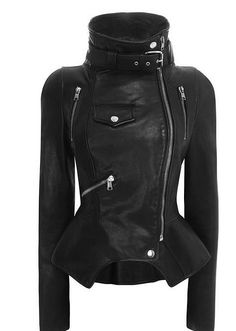 Covet Garden: Alexander McQueen Motorcyle Jacket (my boyfriend says all this is missing is two classic Israeli Uzis) Vogue Fashion, Look Fashion, Autumn Fashion, Womens Fashion, High Fashion, Winter Fashion Boots, Classy Fashion, Fashion Black, Lolita Fashion