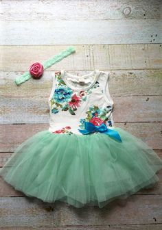 Baby tutu and headband - Mint baby tutu dress with lace flower headband