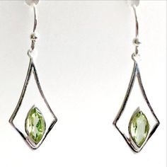 Peridot Earrings, Dangly Earrings, Drop Earrings, New Earth, Green Gifts, Green Gemstones, Chakra Stones, Handmade Sterling Silver, Plexus Products