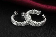 Sterling Silver Wire Mesh Hoop Earrings  Must have!  91% OFF