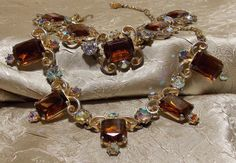 Vintage 1950s Rhinestone Necklace Bracelet by TheEclecticDiva, $79.00