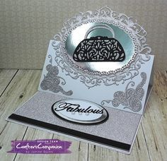 Easel card made using Sara Signature Glamour Collection. Designed by Janine Quinn #crafterscompanion