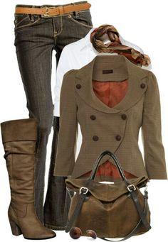 Tall boots, blazer