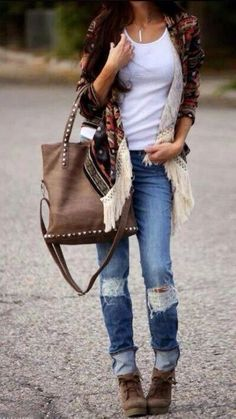 I love everything about this Fall outfit. Lovely Fall Fresh Looking Outfit. 46 Adorable Fashion Ideas To Wear Today – I love everything about this Fall outfit. Lovely Fall Fresh Looking Outfit. Denim Fashion, Look Fashion, Fashion Outfits, Womens Fashion, Gypsy Fashion, Fall Fashion, Fall Winter Outfits, Autumn Winter Fashion, Summer Outfits