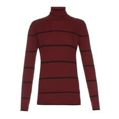 Fendi Striped roll-neck wool sweater (14 125 UAH) ❤ liked on Polyvore featuring tops, sweaters, red striped top, red wool sweater, striped wool sweater, red slip and wool sweaters