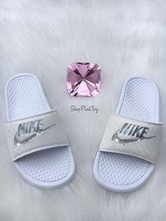 Nike Benassi Slides JDI Swoosh GD Style Black White Tick   Nike Benassi    Pinterest   Black