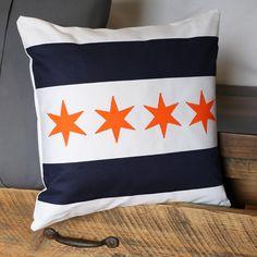 Chicago Flag Pillow | Chicago Bears | Original Home Decor (14x14) Includes Insert