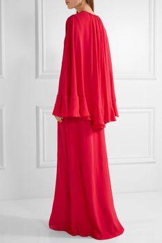 Giambattista Valli - Cape-back Silk-georgette Gown - Red - IT42