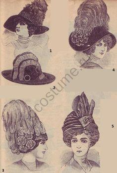 Шляпы женские, мода в России 1910 года   История костюма