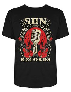 SUN RECORDS STEADY MENS BLACK ROCKABILLY MUSIC TEE SHIRT ELVIS RETRO VINTAGE