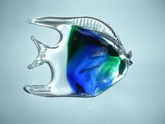 verre de murano superbe poisson ton bleuté avec étiquette origine neuf fr.picclick.com