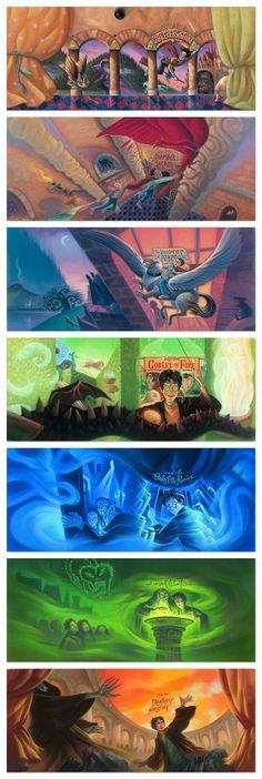 As capas dos livros do Harry Potter foram feitas pela ilustradoraMary GrandPré. Como qualquer trabalho que envolve ilustrações, várias são feitas e a equ