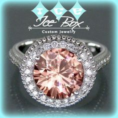 Pink Moissanite Engagement Ring 9mm, 3ct Round Pink Moissanite in a 14k White Gold Diamond Milgrain Halo Setting