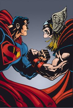 After a while I'm back here with new colored drawings, this time chose a duel between Superman and Thor, perhaps one of the most anticipated fights, the drawing is the work of Mitch Ballard. Thor Vs Superman, Mundo Superman, Superman Artwork, Marvel Comics Superheroes, Marvel Heroes, Marvel Characters, Marvel And Dc Crossover, Science Fiction, Arte Dc Comics