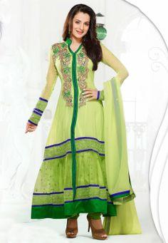 #Green #Anarkali Churidar Kameez @ $86.81