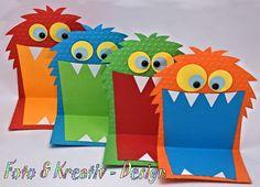 Lustige Einladung für den nächsten Kindergeburtstag. Hergestellt aus geprägtem Karton, Halbperlen, 3-D Pads und gestempeltem Einladungsschildchen.  Maße: 19,5 x 11,5 cm (aufgeklappt) incl....
