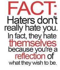"True Story! A truly happy, blessed person lives their life not trying to prove to everyone how ""blessed"" they are. They live their life & don't seek out others to copy, stalk or be hateful. If you have to act desperate for attention, then maybe your life isn't as great as you are pretending it is?? Just a thought! :) Keep hating haters!"