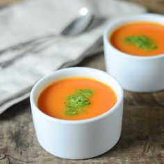 Gojee - Apple and Carrot Soup with Cilantro-Peanut Chutney by A Brown Table