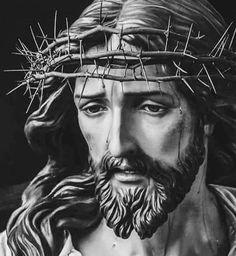 Virgen Maria Tattoo, Jesus Tattoo, Pictures Of Jesus Christ, Christian Artwork, Jesus Face, Catholic Art, Photo Illustration, Photo Art, Sculpting