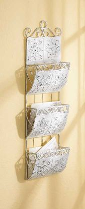 Shabby White Metal Letter Organizer. I have this hanging in my bathroom with hand towels  rolled up instead of letters