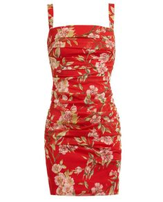 DOLCE & GABBANA   Floral Printed Ruched Silk Dress   Browns fashion & designer clothes & clothing