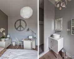 Meuble bas métallique 'Ikea', orchidée 'SIA'. Dans une salle d'eau, meuble vasque 'Castorama' et miroir chiné dans un vide-grenier