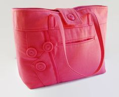 This is a classic and stylish pink upcycled recycled repurposed fabric handbag, large purse, medium size tote bag. It is simple in style yet very attractive. It was handmade and constructed from a outdated 50% polyester and 50% rayon pink blazer jacket I acquired from my mom. Use it daily to comfortably carry all your essential items. The pink color will brighten any outfit in the fall, winter, spring or summer.  The exterior has some unique features. I incorporated the blazer jackets lapel…