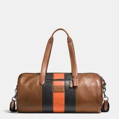 COACH: Metropolitan Soft Gym Bag In Varsity Stripe Sport Calf Leather