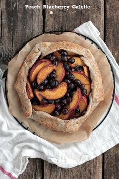 Rustic and simple Peach Blueberry Galette. Naturally-sweet!!  | Live Simply Unique Recipes, Real Food Recipes, Dessert Recipes, Pie Recipes, Brunch Recipes, Summer Recipes, Sweet Recipes, Homemade Ice Pack, Blueberry Galette