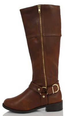 Amazon.com: Dark Tan Faux Leather Gold Zipper Buckle Knee High Riding Boot Salsa: Shoes
