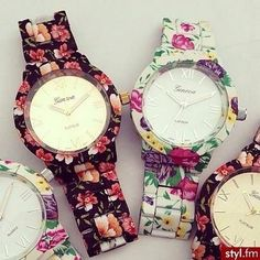 floral patterns; ) #fashion #flowers #summer #watches #accessories