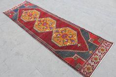 Turkish Runner Rug Vintage Handmade Oushak Rug Anatolia