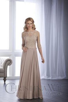 Teri Jon Lace & Chiffon A-Line Gown available at Nordstrom Mob Dresses, Bridesmaid Dresses, Formal Dresses, Party Dresses, Gala Dresses, Bride Dresses, Wedding Dresses, Peplum Gown, Lace Dress