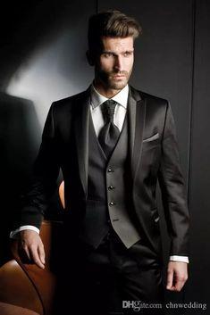 2015 Custom Made Groom Tuxedos Black Formal Suits Wedding suits Groomsman Suit Mens Suit (Jacket Pants Tie Vest) Bridegroom Suit Best Wedding Suits, Tuxedo Wedding, Wedding Men, Wedding Tuxedos, Wedding Attire, Trendy Wedding, Wedding Stuff, Wedding Gifts, Black Suit Wedding
