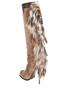 Gianmarco Lorenzi - Natural Long Boot with Fur Tassel - Lyst f133896c710