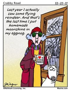 Maxine: Last year I actually saw some flying reindeer. And that's the last time I put homemade moonshine in my eggnog. Christmas Quotes, Christmas Humor, Christmas Time, Christmas Countdown, Christmas Stuff, Christmas Greetings, Christmas Crafts, Merry Christmas, Homemade Moonshine