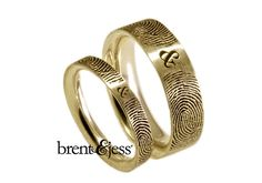 Brent & Jess LLC Jewelry - Gold Fingerprint wedding band set